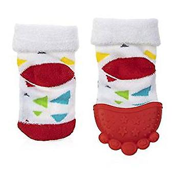 Baby Accessories - Nuby - Soothing Teether Sock Red Triangles New 80339