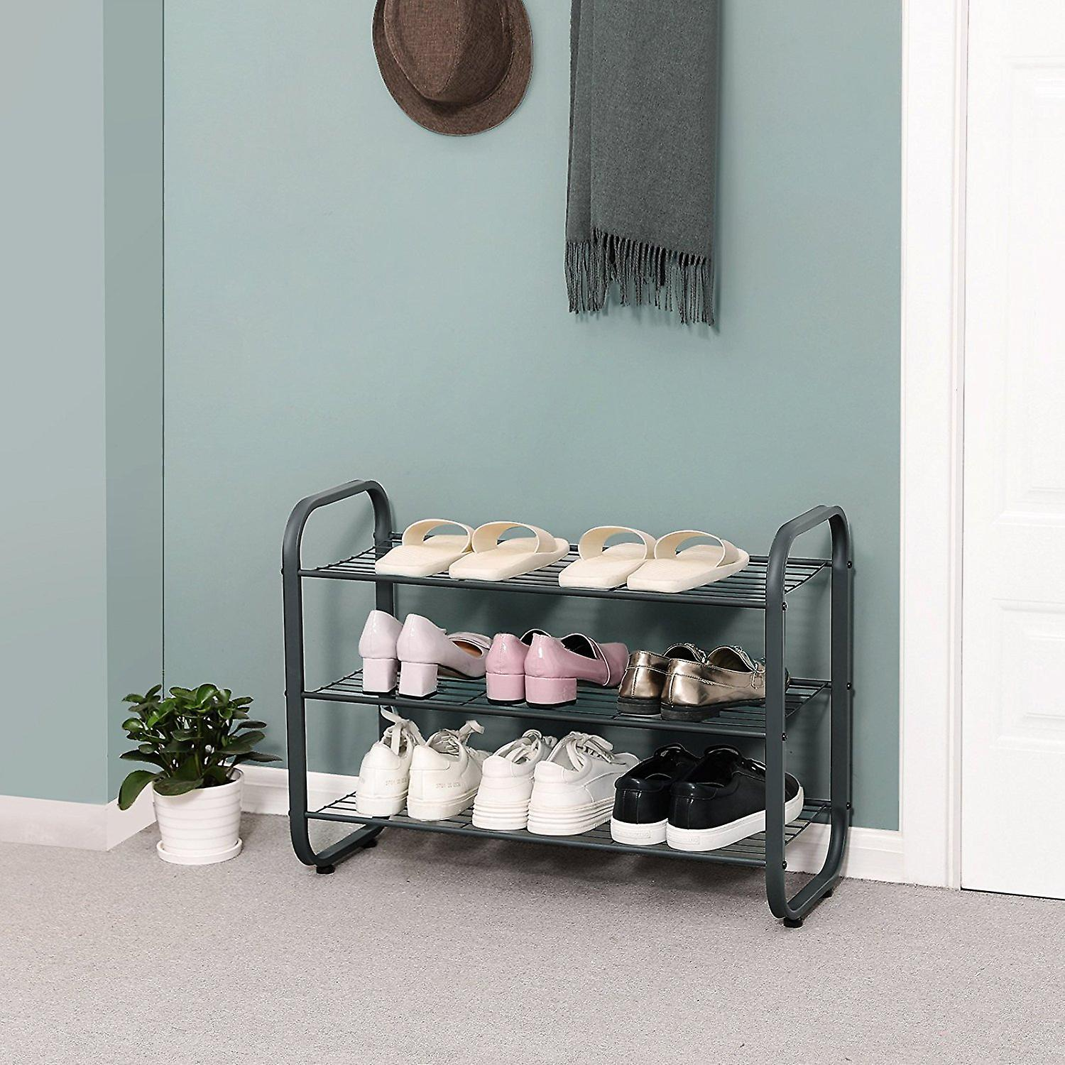 Shoe rack with 3 grilles-metal-grey