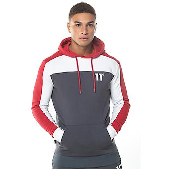 11 Degrees Colour Block Pull Over Hoodie - Anthracite, White & Red