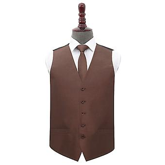 Chocolate Brown Shantung Wedding Waistcoat & Tie Set