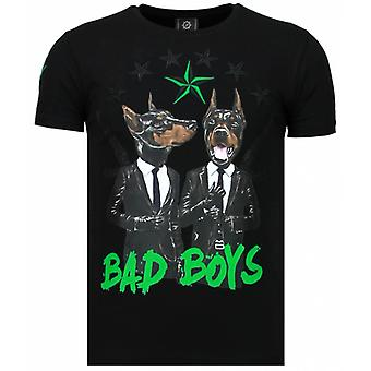 Bad Boys Pinscher-Rhinestone T-shirt-Black