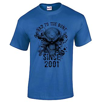 Men's 18th Birthday T-Shirt Bad To The Bone 2001 Gifts For Him