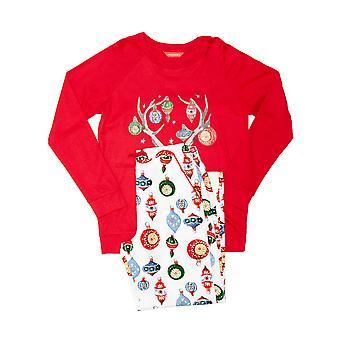 Minijammies 5515 Mädchen's Belle weiß Mix Kugel Druck Baumwolle Pyjama Set