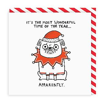 Ohh Deer The Most Wonderful Time Square Greeting Card