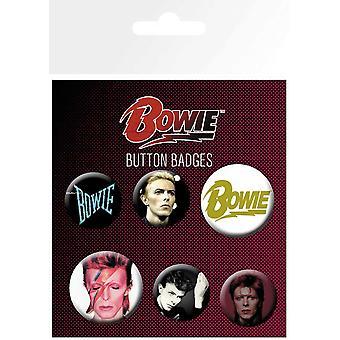 David Bowie Abzeichen Pack Aladdin Sane Logo offizielle 6 Pack (4 x 25mm & 2 x 32mm)