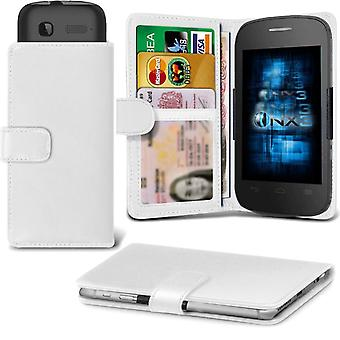 ONX3 Alcatel Pop 4 / Pop 4S / Pop 4+ Leather Universal Spring Clamp Wallet Case With Card Slot Holder and Banknotes Pocket-White
