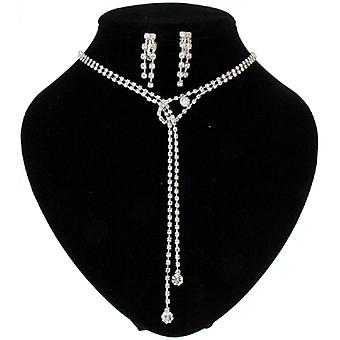 Diamante Crystal Dangling Drop Pendant Necklace and Clip On Earrings Set