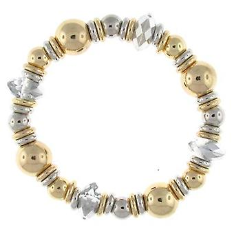 Gold and Silver Bead & Crystal Stretch Bracelet