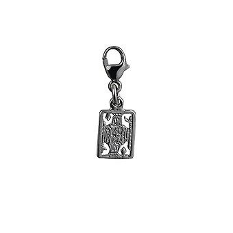 Silver 11x9mm King Playing Card Charm with a lobster catch