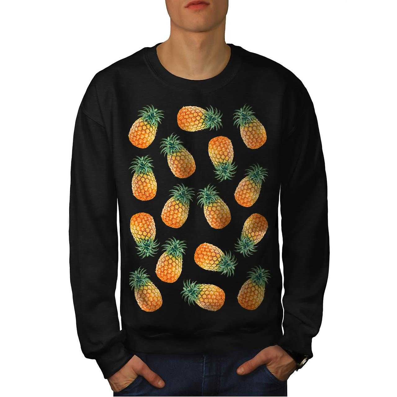 Pineapple Fruit Bowl Summer Fun Men Black Sweatshirt | Wellcoda