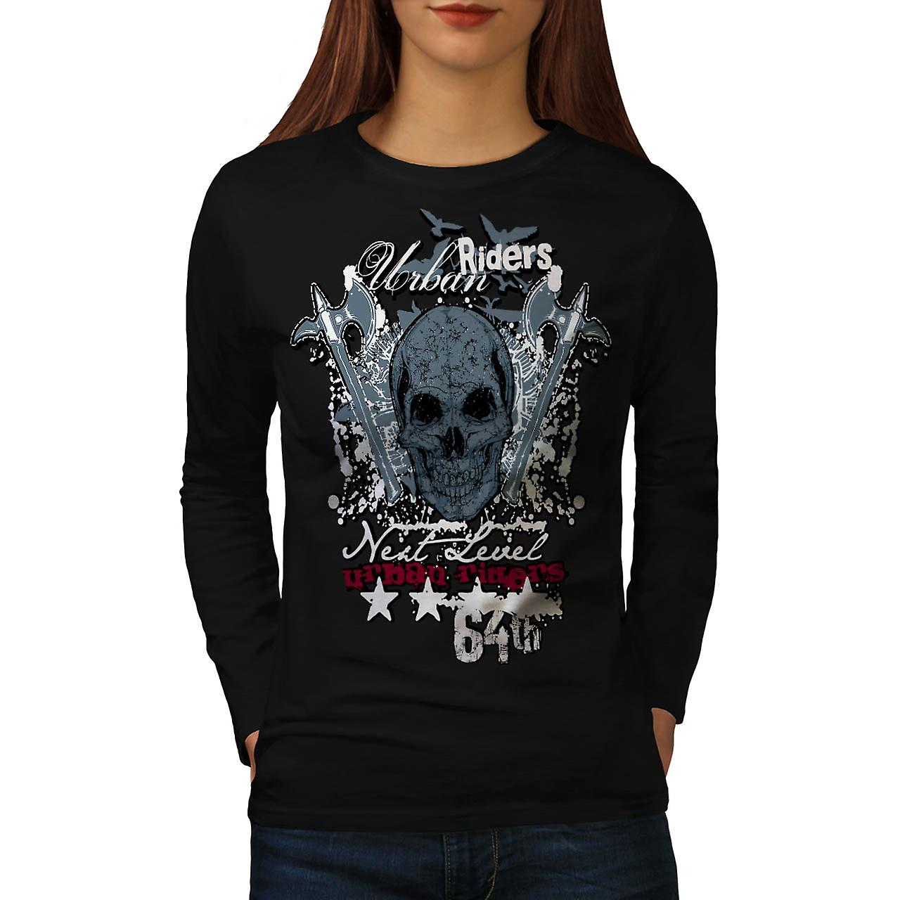Urban Hell Rise Rider Bike Skull Women Black Long Sleeve T-shirt | Wellcoda