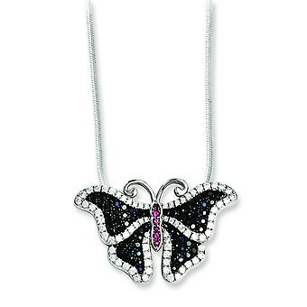 Sterling Silver Pave Black Rhodium-plated Lobster Claw Closure and Cubic Zirconia Brilliant Embers Butterfly Necklace -