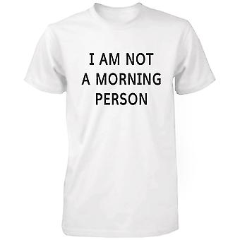 I Am Not A Morning Person Funny Graphic Tee- White Cotton T-Shirt
