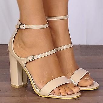 Shoe Closet Nude Ankle Strap Heels - Ladies DB61 Nude Patent Barely There Ankle Strap Strappy Sandals High Heels