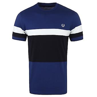 Fred Perry Medieval Blue Blocked Stripe T-Shirt
