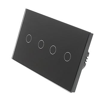 I LumoS Black Glass Double Panel 4 Gang 2 Way Touch LED Light Switch