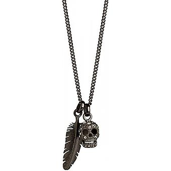 Simon Carter Skull and Feather Collier - Argent