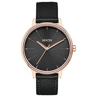 Nixon The Kensington Leather Watch - Black/Rose Gold