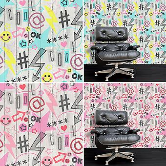 Social Media Wallpaper Graffiti Urban Wood Effect Planks Boards Stars Fine Decor