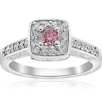 3/8ct Pink Diamond Cushion Halo Vintage Engagement Ring 14K White Gold