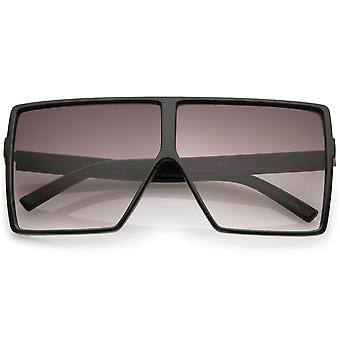 Super Oversize Square Sunglasses Flat Top Neutral Color Flat Lens 69mm