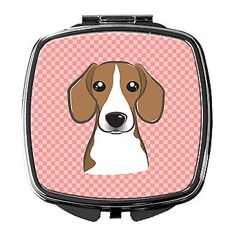 Carolines Treasures  BB1239SCM Checkerboard Pink Beagle Compact Mirror
