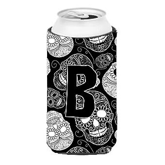 Letter B Day of the Dead Skulls Black Tall Boy Beverage Insulator Hugger