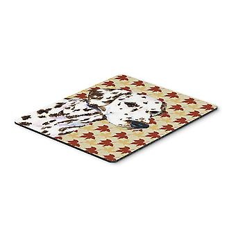 Carolines Treasures  SS4387MP Dalmatian Fall Leaves Portrait Mouse Pad, Hot Pad