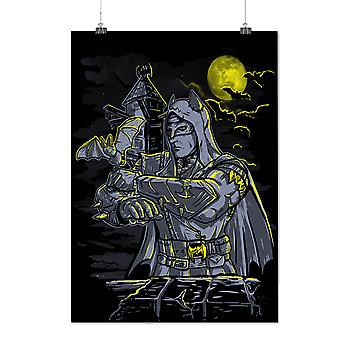 Matte or Glossy Poster with Bat Man Night Fantasy | Wellcoda | *d2059