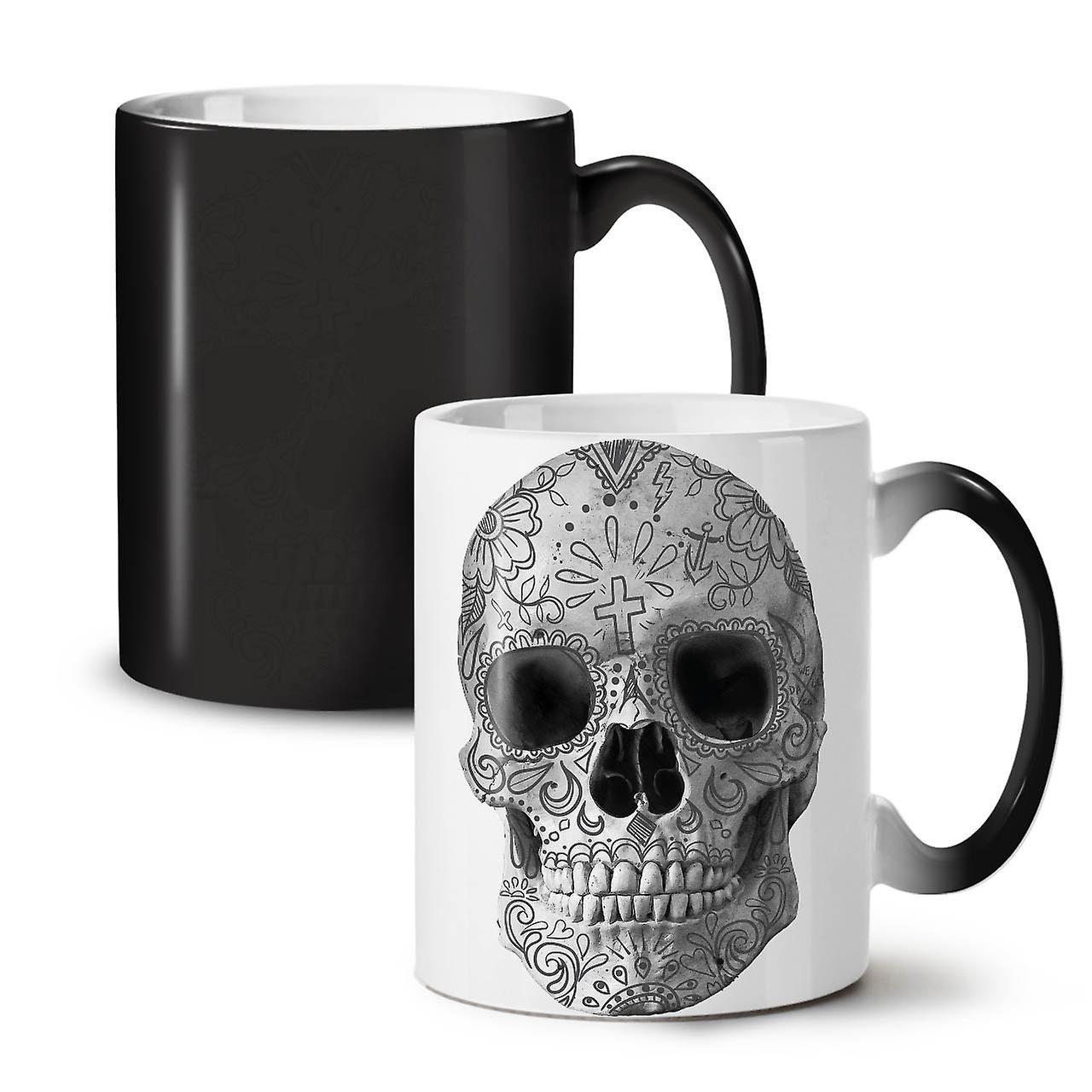 OzWellcoda Noir Crâne Changeant Couleur Nouvelle Thé Café Céramique Peint 11 Tasse Visage orxdWeCB