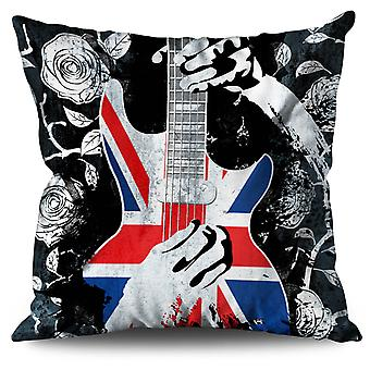Bass Guitar Rose Flag UK Linen Cushion Bass Guitar Rose Flag UK | Wellcoda