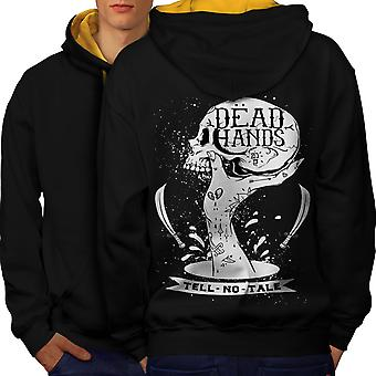 Dead Hand Goth Men Black (Gold Hood)Contrast Hoodie Back | Wellcoda
