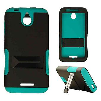 Hopper Protector Case for HTC Desire 510 (Rubberized Black Skin and Blueish Gree
