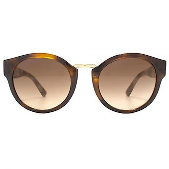 Burberry Metal Bridge Round Sunglasses In Light Havana