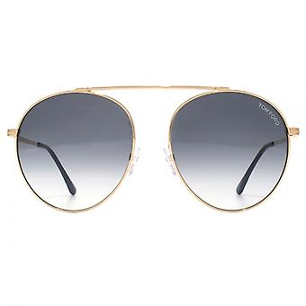 Tom Ford Simone 02 Sunglasses In Shiny Rose Gold Grey Gradient
