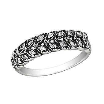 Patterned - 925 Sterling Silver Jewelled Rings