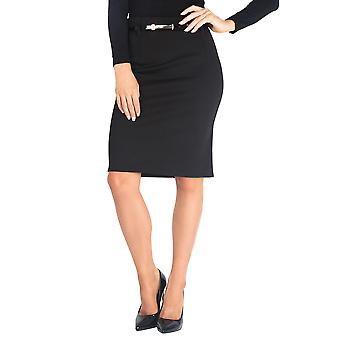 KRISP Belted Ponte Midi Pencil Skirt