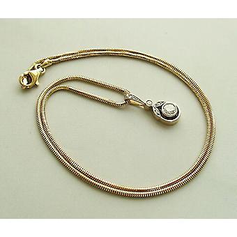 Goldene Halskette mit Diamanten Art-deco-Anhänger