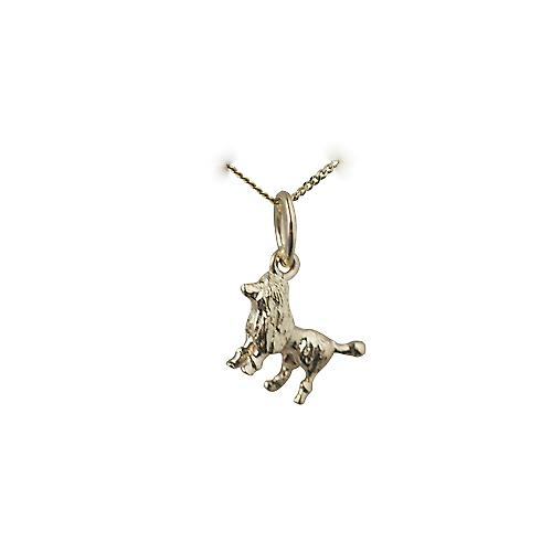 9ct Gold 8x12mm Poodle Pendant with a curb Chain 16 inches Only Suitable for Children