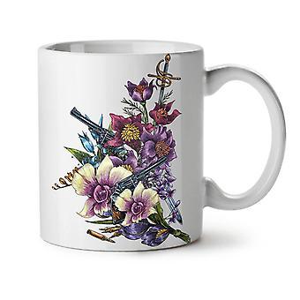 Flor arma frío gángster nuevo té blanco taza de café de cerámica 11 oz | Wellcoda