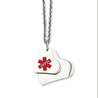 Stainless Steel Enamel Medical Imprint Heart Pendant Necklaces - Cable