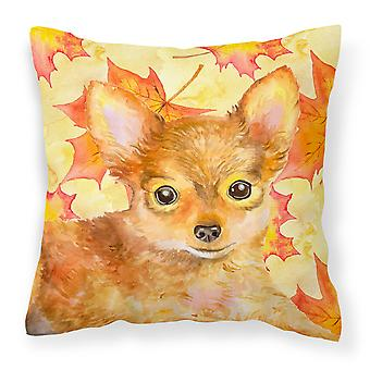 Carolines Treasures  BB9983PW1414 Toy Terrier Fall Fabric Decorative Pillow