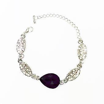 Silver Dark Purple Stone Teardrop Leaf Bracelet