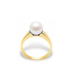 Ring perła kultury słodkowodne białe i żółte złoto 375/1000