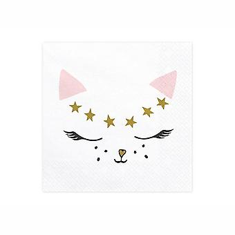 Cute Meow Kitty Cat Paper Party Napkins 33x33cm x 20