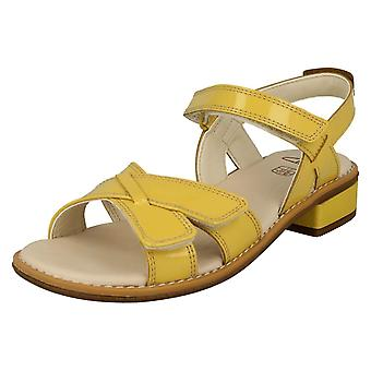 Girls Clarks Strappy Sandals Darcy Charm - Yellow Patent - UK Size 1.5F - EU Size 33.5 - US Size 2M