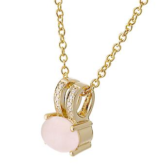 Orphelia Silver 925 Chain With Pendant Gold Plated With Rose Quartz + Zirconium  ZH-7122/G