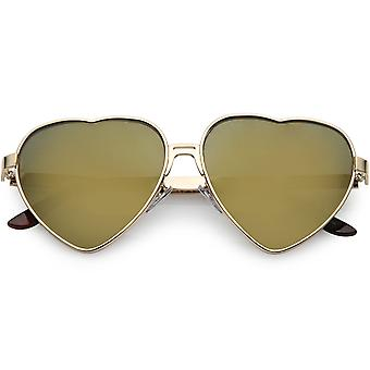 Women's Cute Metal Heart Sunglasses Colored Mirror Lens 60mm