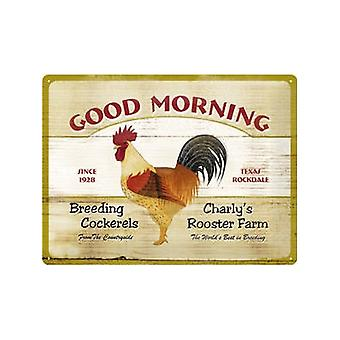 Good Morning Rooster Embossed Metal Sign