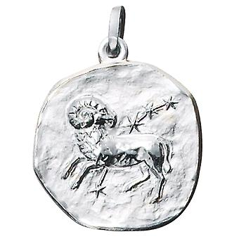 Trailer zodiac sign Aries 925 sterling silver frosted zodiac sign pendant